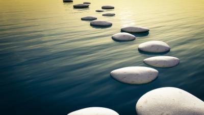 zen rocks in water