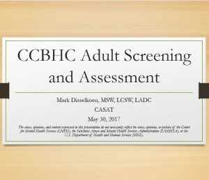 CCBHC Adult Screening and Assesment