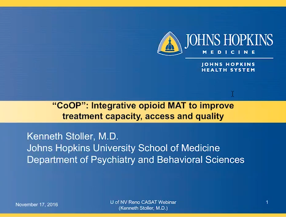 """CoOP"": Integrative opioid MAT to improve treatment capacity, access and quality"