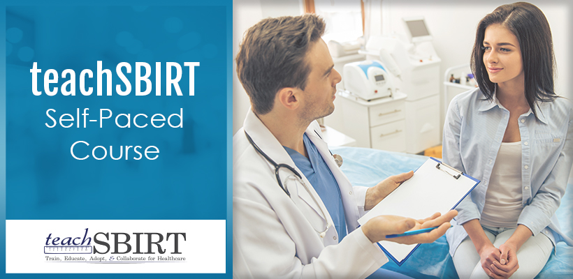 teachSBIRT self paced course. Image of a doctor talking to a patient.