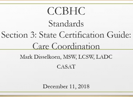 CCBHC Standards Care Coordination
