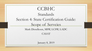 CCBHC Standards Section 4: Scope of Services