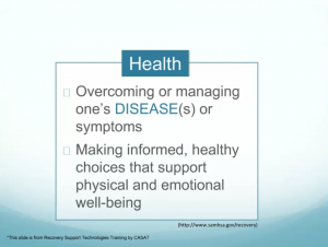 Overcoming or managing one's disease(s) or symptoms, Making informed, healthy choices that support physical and emotional well-being