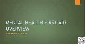 Mental Health First Aid Overview