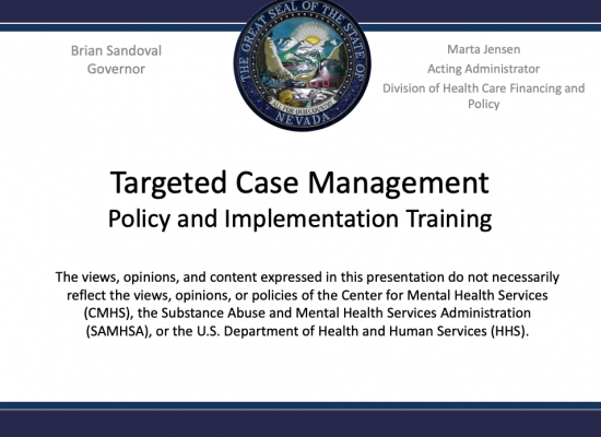 Targeted Case Management: Policy and Implementation Training